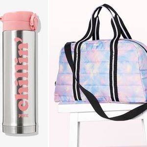 VS PINK DUFFLE BAG QUILTED DYE & Thermos Pink